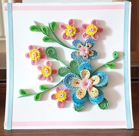کارت تبریک با گلهای سه بعدی رنگارنگ