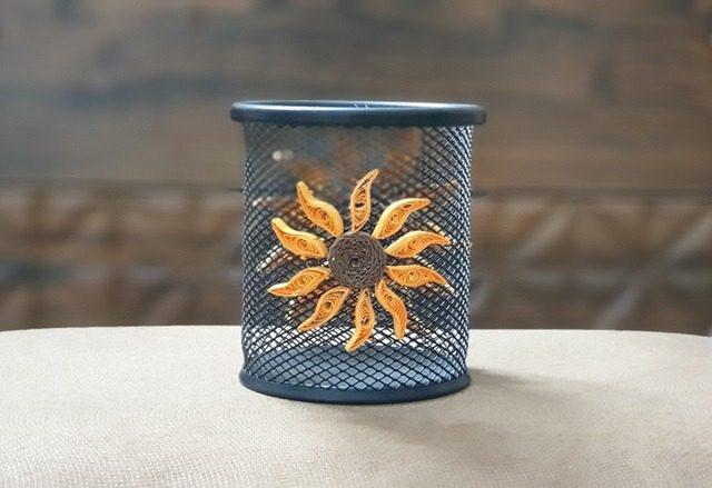 جامدادی رومیزی فلزی توری گل آفتابگردان
