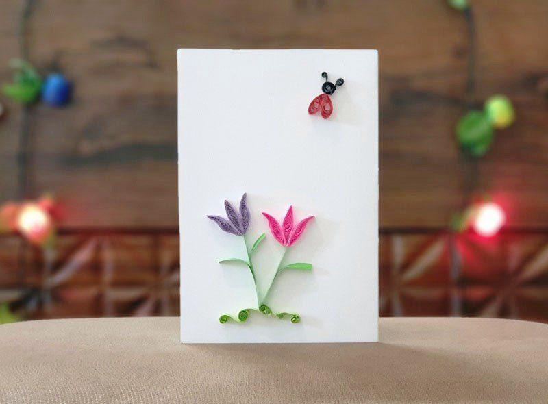 کارت پستال گلها و کفشدوزک