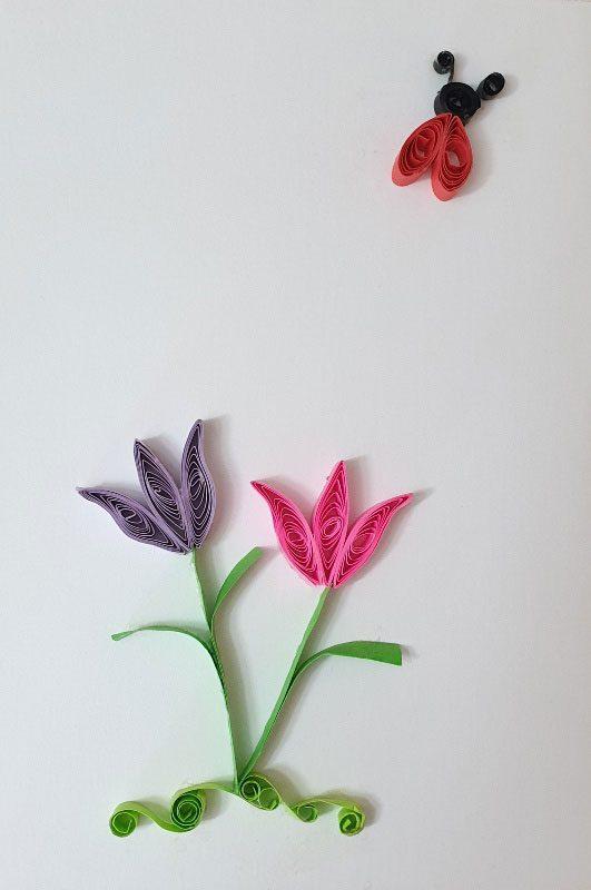 کارت تبریک گلها و کفشدوزک