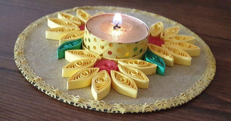 جا شمعی طلایی با ملیله کاغذی