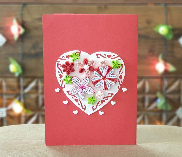 کارت پستال قلب سه بعدی پُرگل