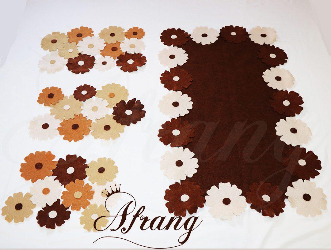 رومیزی نمدی طرح گل با عسلی