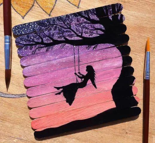 نقاشی روی چوب بستنی اسان